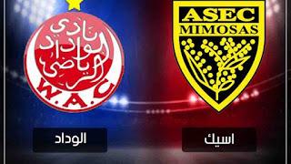 بث مباشر مباراة الوداد البيضاوي و اسيك ميموزا مباشر دوري ابطال افريقيا