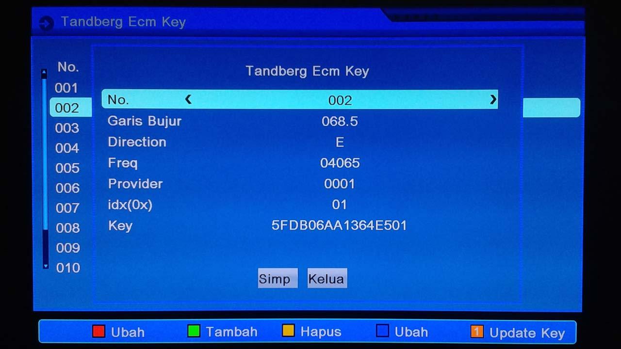 cara memasukan kode ecm key tandberg Matrix Burger S1 Mini