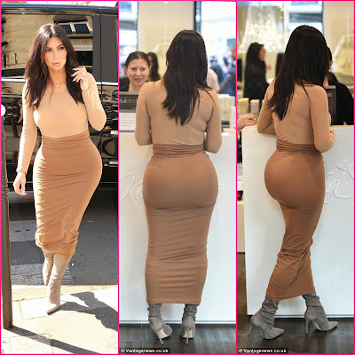 Kim Kardashian Flaunts Her Curvaceous Figure In A Skin-Tight Bodysuit And Skirt Combination