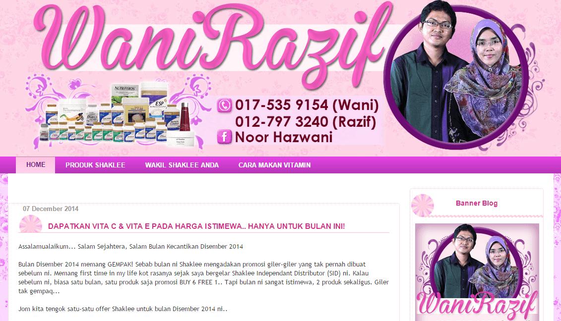 Template Blog Wani Razif, edit blog murah, design blog murah