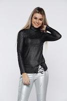 Bluza dama PrettyGirl neagra casual tricotata pe gat