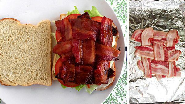 21 Daily Things You've Been Doing Incorrectly All Your Life & How To Do Them Right - The right way to make a BLT is to make a lattice with the bacon strips instead of just spreading them over the bed.