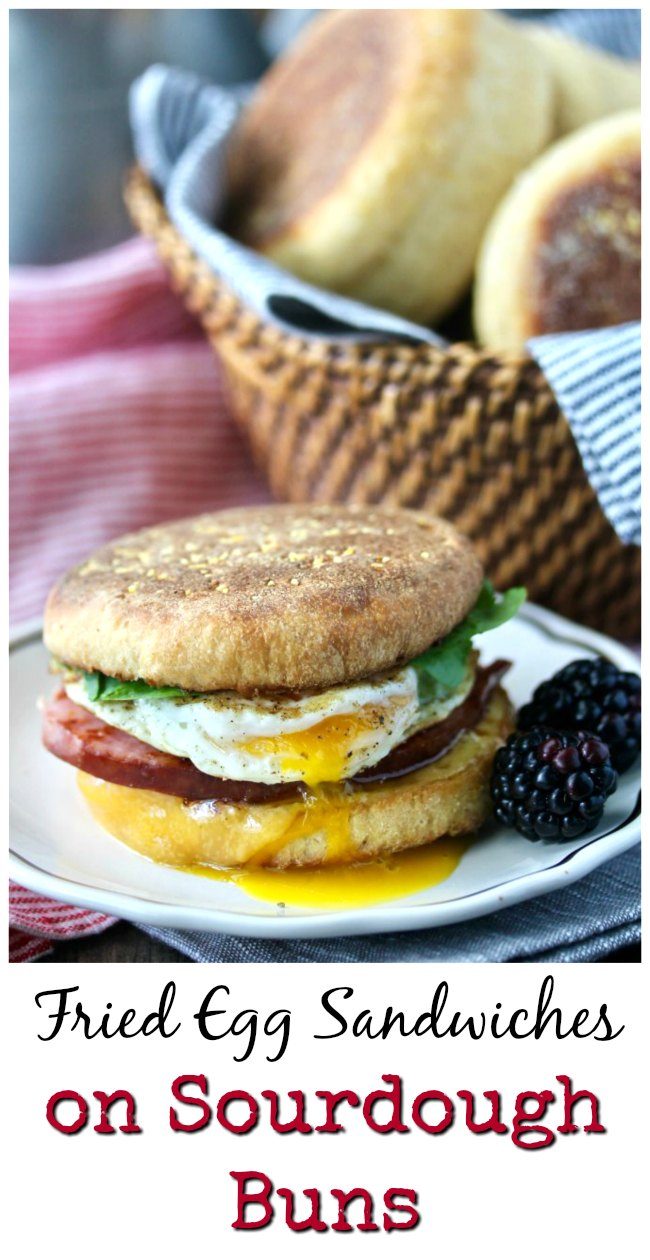 Fried Egg and ham Sandwiches with Homemade Sourdough Buns #sourdough #breakfastsandwich