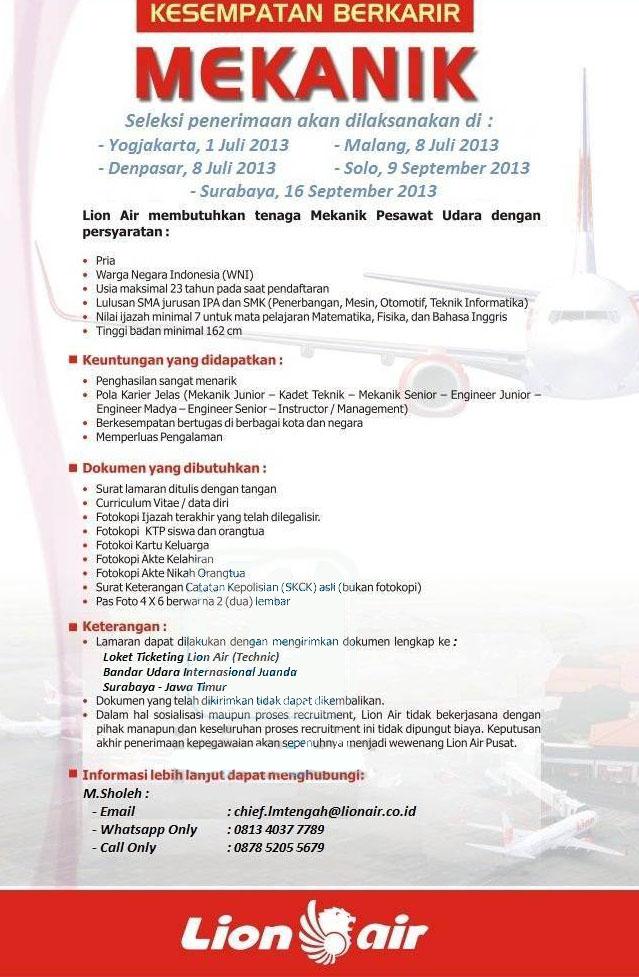 Lowongan Kerja Di Palembang Untuk Sma 2013 Info Terbaru 2016 Info Harian Terbaru Lowongan Sma Smk Juanda Surabaya Pt Lion Air – Mekanik Pesawat