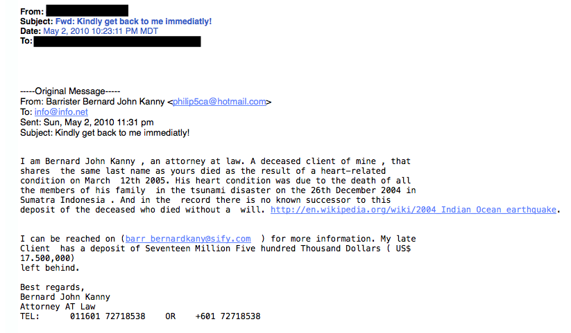 Attorney phishing example