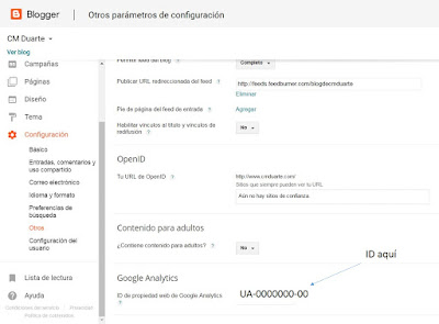 Poner id de google analytics en Blogger