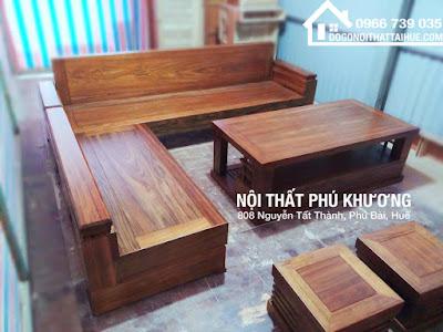 Sofa Góc Gỗ Mun