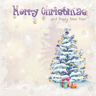 Clipart Image of a Merry Christmas Greeting With a Christmas Tree in the Corner