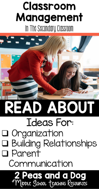 Having a consistent classroom management plan is an important part of any teacher's day. Three key components of secondary classroom management are building relationships, being organized and parent communication. Read about how to included these ideas into your middle or high school classroom from the 2 Peas and a Dog blog.
