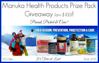 Enter the Manuka Health Products Prize Pack Giveaway. Ends 2/13