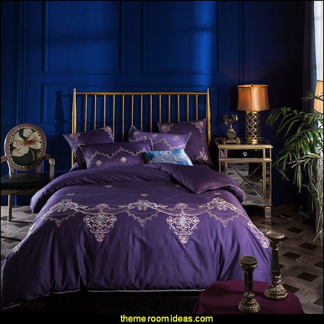 dark purple elegant style luxury embroidery bedding