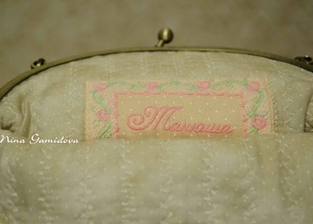 Текстильная сумочка на фермуаре с вышивкой.