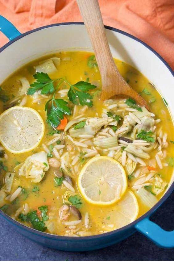 Loaded Lemon Artichoke Orzo Soup Recipe