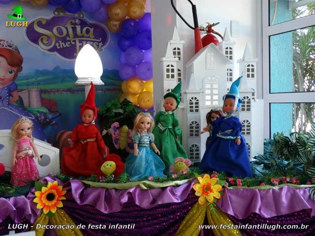 Decoração infantil, mesa de tema da Princesa Sofia