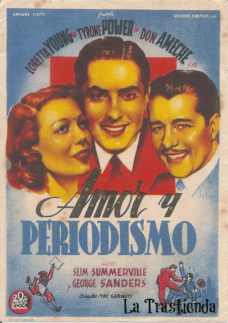Programa de Cine - Amor y Periodismo - Tyrone Power - Loretta Young - Don Ameche