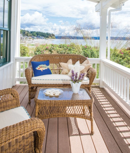 Coastal Beach Cottage Porch with Wicker Furniture
