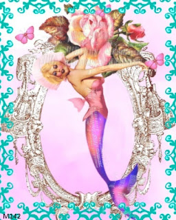 pink rose pin up girl mermaid
