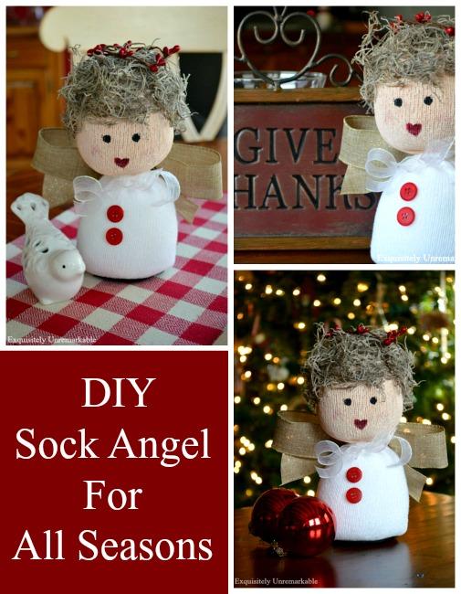 DIY Sock Angel Pattern For All Seasons Pin graphic