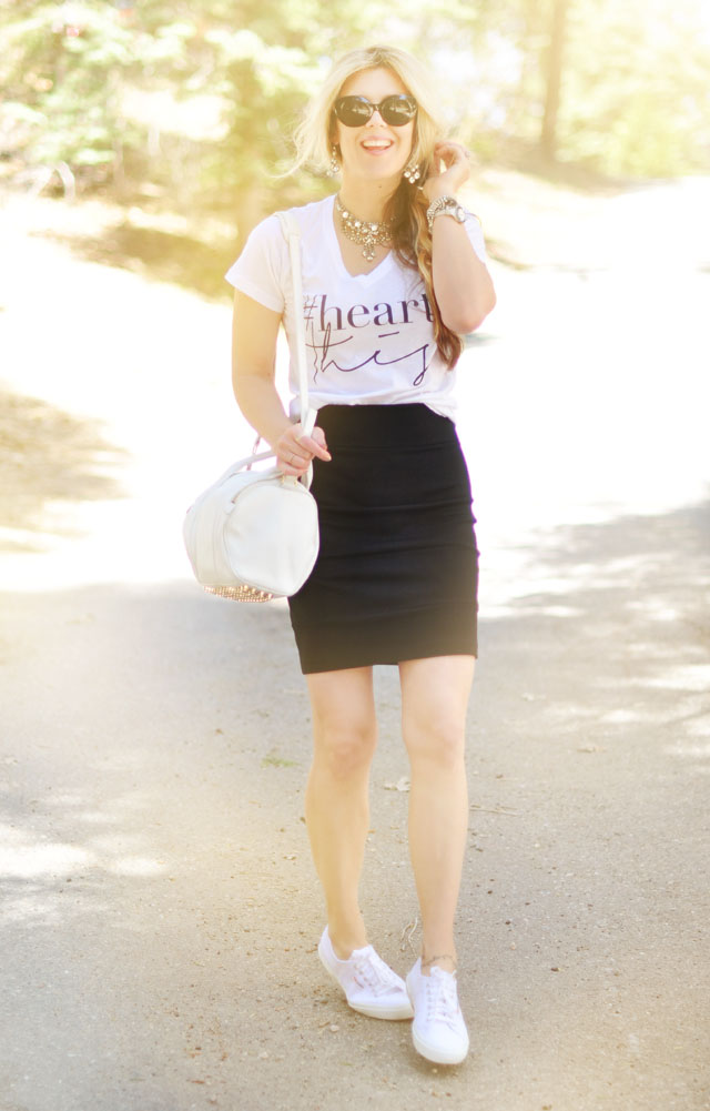 black and white casual chic outfit, #heartThis, superga sneakers, alexander wang rockie bag