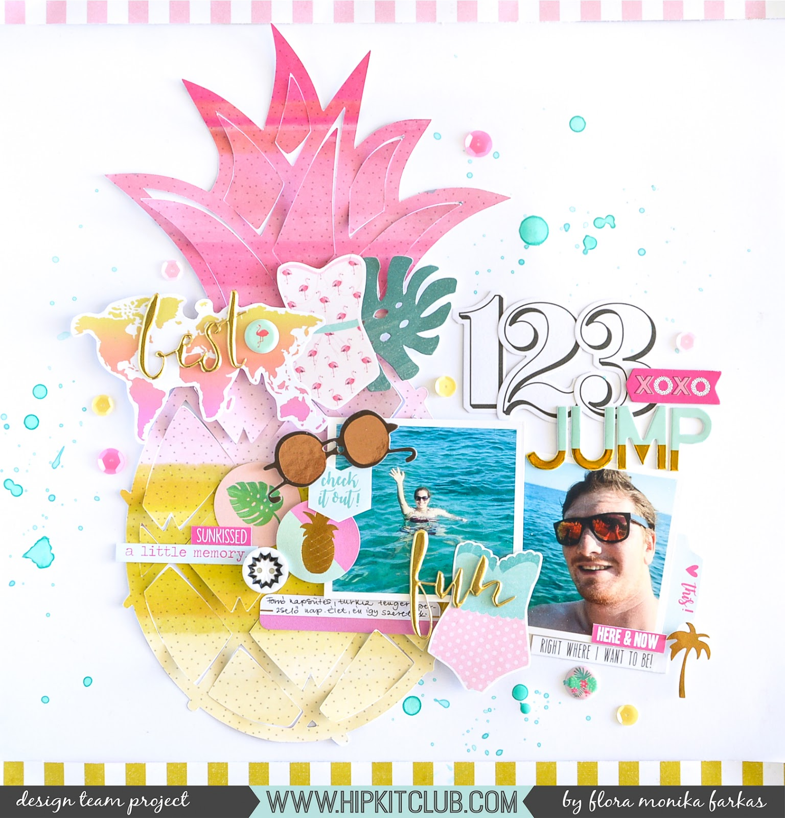 Pineapple scrapbook layout made with April 2017 Hip Kits | by @floramfarkas