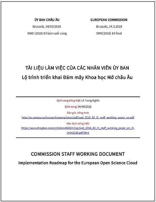 'Lộ trình triển khai Đám mây Khoa học Mở châu Âu' - bản dịch sang tiếng Việt