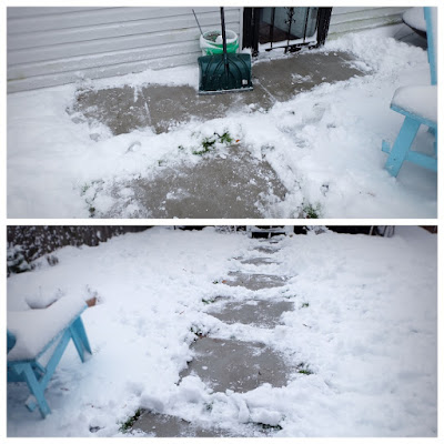 backyard concrete walk path snow shovel cleared