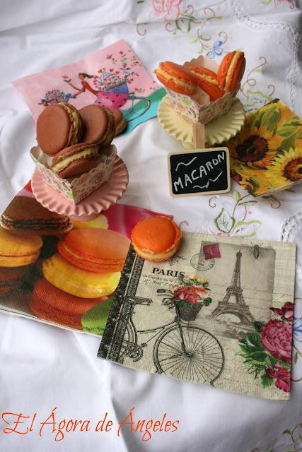 Macarons de fruta de la pasión y queso mascarpone