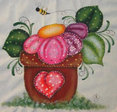 pintura em tecido ecobag patch apliqué folk art