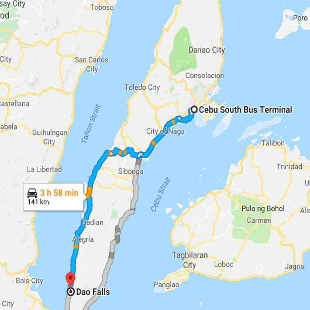 Map Destination of Dao Falls Samboan Cebu Philippines 2018