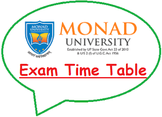 Monad University Exam Date Sheet 2019