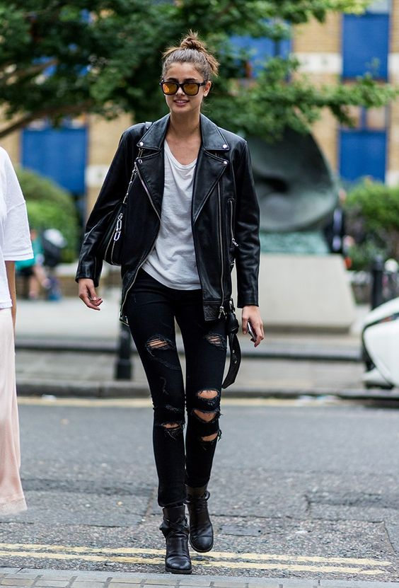 Style Caster Leather Jacket Black Ripped Jeans London Fashion Week LFW SS17 Street Style