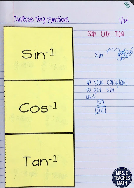 Sine, Cosine, Tangent Foldable for Geometry Interactive Notebooks - Inverse Trig Ratios