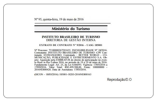 O Governo do presidente interino Michel Temer liberou uma verba de quase R$2,5 milhões para o Rock in Rio Lisboa. A informação foi divulgada no Diário Oficial publicado no dia seguinte à posse de Temer.