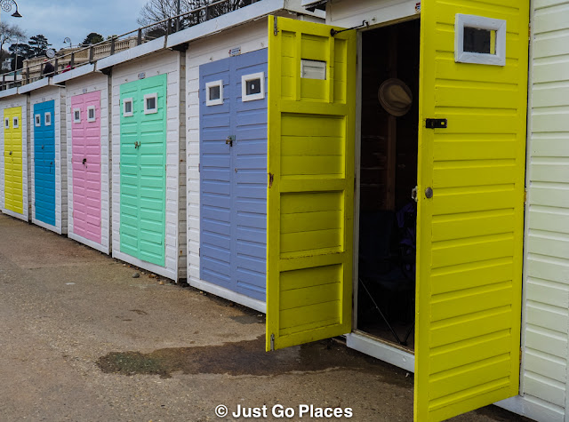 Beach huts in Lyme Regis, Dorset in England.