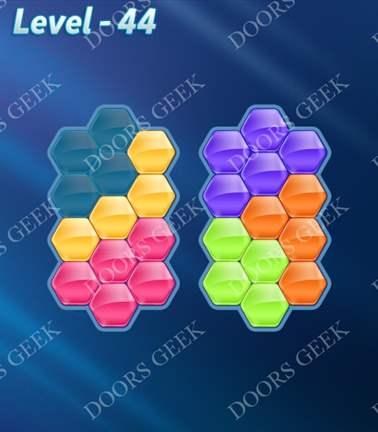 Block! Hexa Puzzle [Rainbow A] Level 44 Solution, Cheats, Walkthrough for android, iphone, ipad, ipod