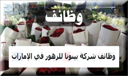 وظائف شركة بينونا للزهور في الإمارات