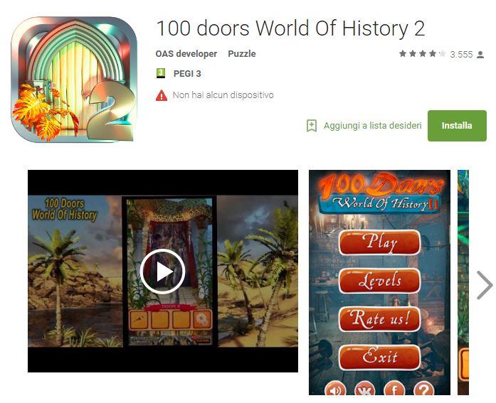 Soluzioni 100 doors World Of History 2 di tutti i livelli