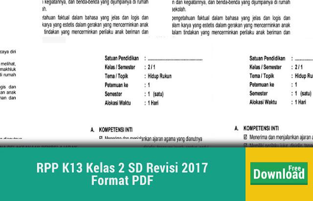 RPP K13 Kelas 2 SD Revisi 2017