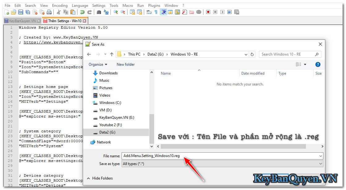 Thêm tính năng Setting vào Menu chuột phải trong Windows 10.