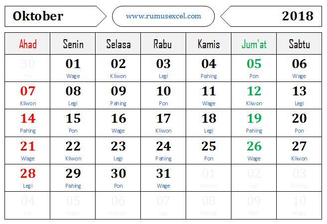Kalender Format Excel + Pasaran Jawa