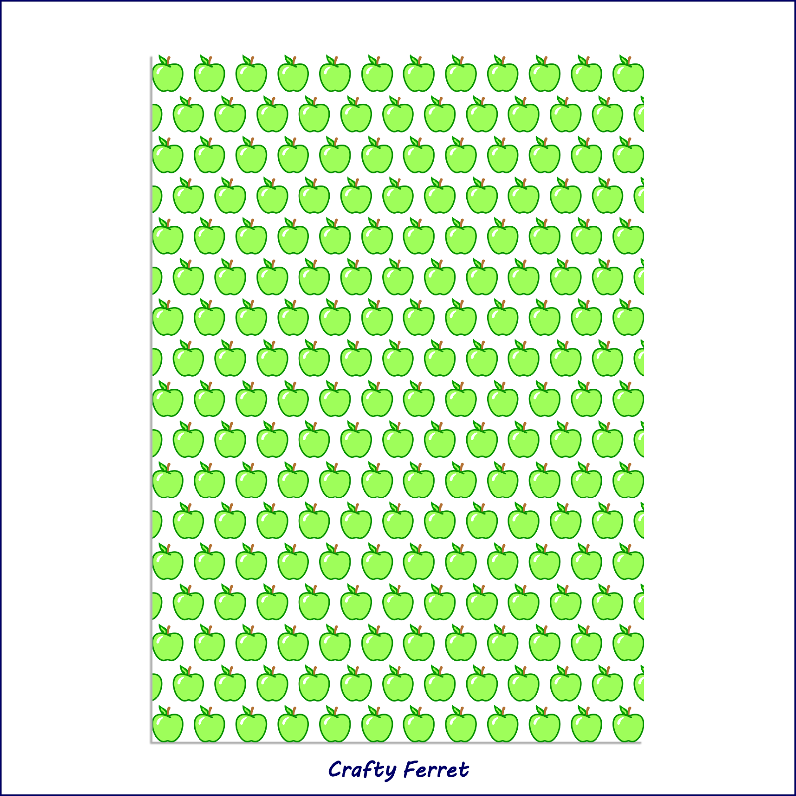 Apple patterned green craft backing paper.