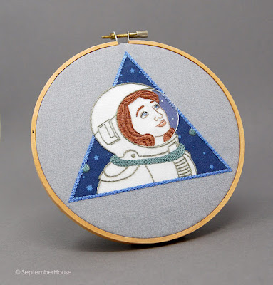 Astronaut embroidery Pattern, Space Embroidery by SeptemberHouse