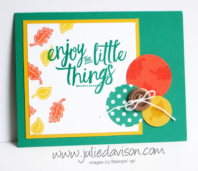 Stampin' Up! Every Occasions Layering Love fall autumn card + Video and tips for creating the copper button with embossing powder #stampinup www.juliedavison.com