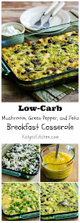 Low-Carb Mushroom, Green Pepper, and Feta Breakfast Casserole found on KalynsKitchen.com