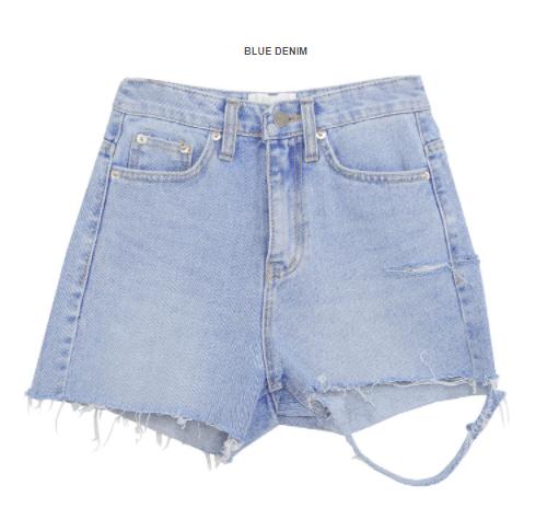 Pre-Damaged Denim Cutoff Shorts