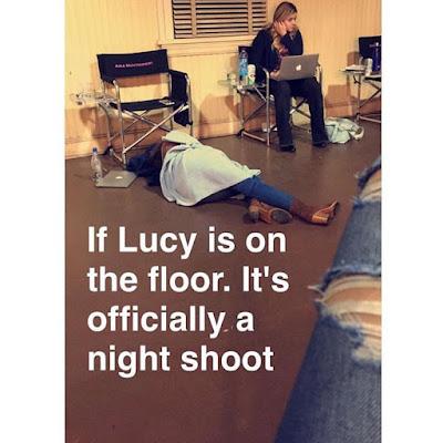 "PLL bts Lucy Hale (Aria) sleeping on floor night shoot 7x10 summer finale ""The DArkest Knight"""