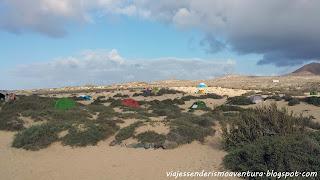 Zona de acampada en la Playa del Salado (La Graciosa)