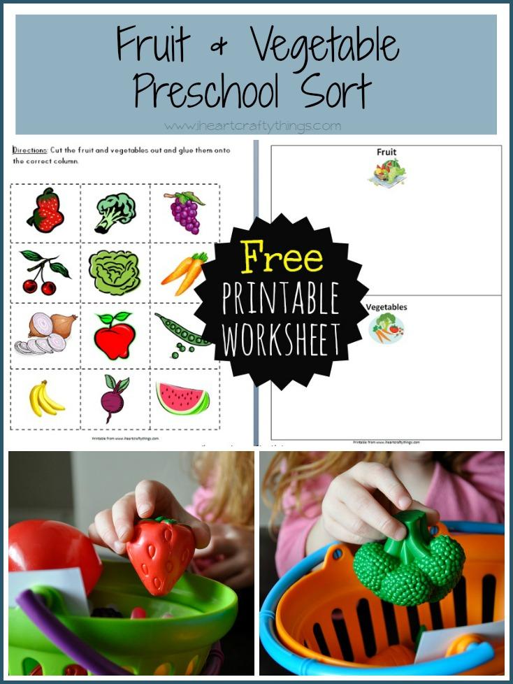 Preschool Fruit And Vegetable Sort - I Heart Crafty Things