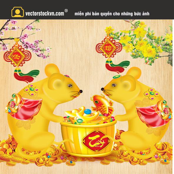 Vector cặp chuột vàng
