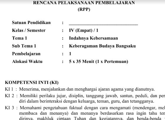 RPP Kurikulum 2013 SD Kelas 4 Tema 1